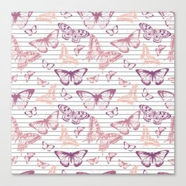 Minimal Black and White Stripes and Rose Gold Butterflies Canvas Print