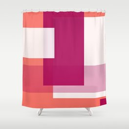 Living Coral + Raspberry   Pacifica Color Block Shower Curtain