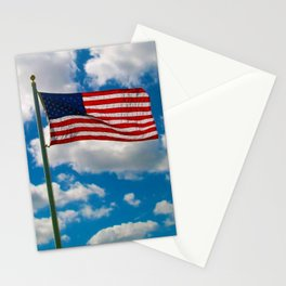 American Flag in Big Blue sky Stationery Cards