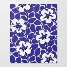 Painted Floral (Blue) Canvas Print