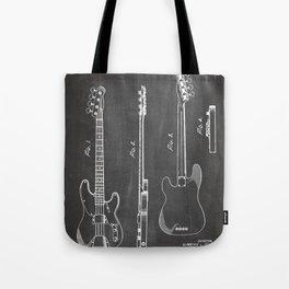 Bass Guitar Patent - Bass Guitarist Art - Black Chalkboard Tote Bag