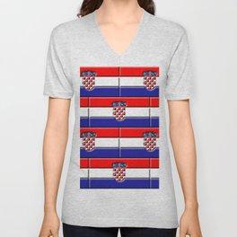 Croatian 3D Flag Unisex V-Neck