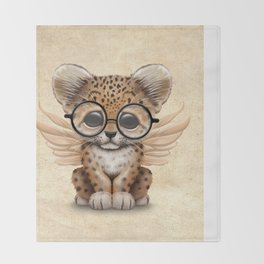 Cute Leopard Cub Fairy Wearing Glasses Throw Blanket