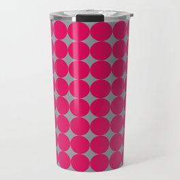 Retro series 1 - Pink circles with Grey Travel Mug