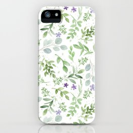 Botanical forest green lavender watercolor floral iPhone Case