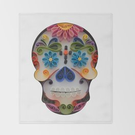 Happy Mexican Calavera Throw Blanket