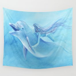 Blue Dolphin With Girl Transforming Into Mermaid Wall Tapestry