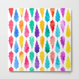Bright Multicolored Feathers Pattern Metal Print