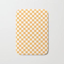 Small Checkered - White and Pastel Orange Bath Mat