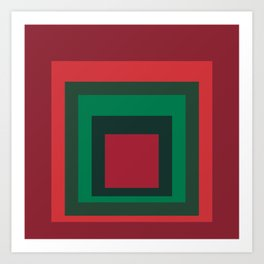 Red & Green Squares Art Print