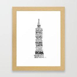 Hand Lettered Taipei 101 - Black and White Framed Art Print