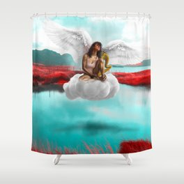 Girl dreamy cloud levitation angel wing Shower Curtain