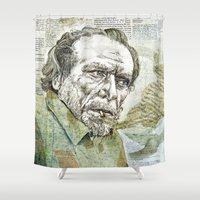 bukowski Shower Curtains featuring Charles Bukowski by Nina Palumbo Illustration