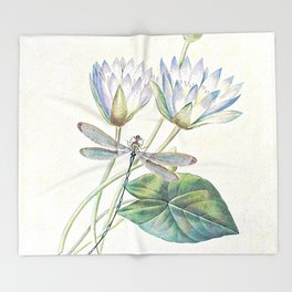 lotus and dragonfly Throw Blanket