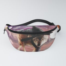 Cat Riding Wolf With Flying Space Ice Cream Fanny Pack