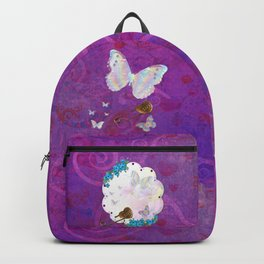 Butterfly Dream Scene Jeweled Mixed Media Backpack