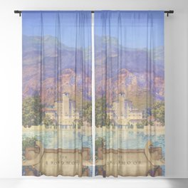 Broadmoor Hotel, Colorado Springs landscape by Maxfield Parrish Sheer Curtain