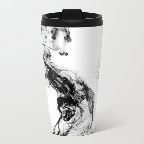 MONOCHROME MARBLE / INDIAN INK IN WATER Metal Travel Mug