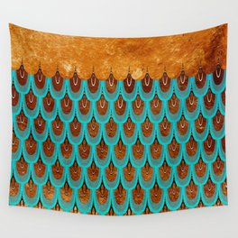 Copper Metal Foil and Aqua Mermaid Scales- Abstract glitter pattern Wall Tapestry