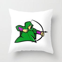 Medieval Archer Mascot Throw Pillow