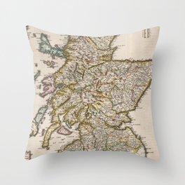 Vintage Map of Scotland (1654) Throw Pillow