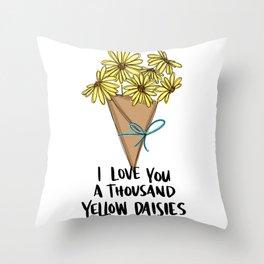 A Thousand Yellow Daisies Throw Pillow