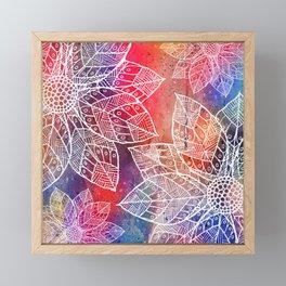 White Flowers On Colored Paint Framed Mini Art Print