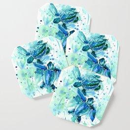 Turquoise Blue Sea Turtles in Ocean Coaster