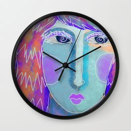 Abstract Digital Portrait of a Red Haired Woman Wall Clock