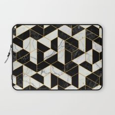 Black and White Marble Hexagonal Pattern Laptop Sleeve