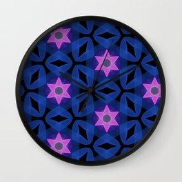 Six Pointed Pink Star on Indigo Wall Clock