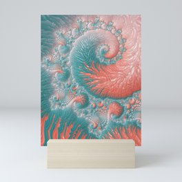 Abstract Coral Reef Living Coral Pastel Teal Blue Texture Spiral Swirl Pattern Fractal Fine Art Mini Art Print