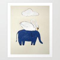 Swan and Elephant Art Print