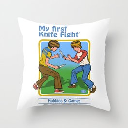 MY FIRST KNIFE FIGHT Throw Pillow