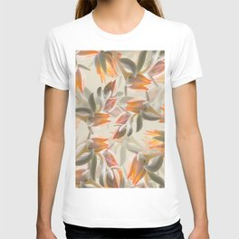 Orange Succulent Flowers Pastel Green Background #decor #society6 #buyart T-shirt