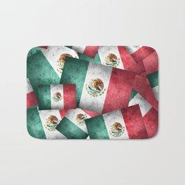 Grunge-Style Mexican Flag Bath Mat