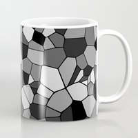 gray pattern Mugs featuring Gray Monochrome Mosaic Pattern by Margit Brack