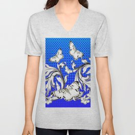 WHITE BUTTERFLIES FLUTTERING WITH BAROQUE FLORAL Unisex V-Neck