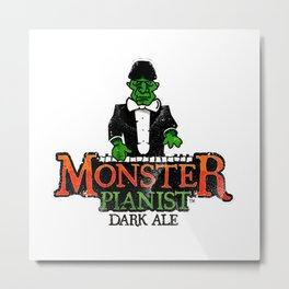 Monster Pianist Dark Ale logo weathered Metal Print
