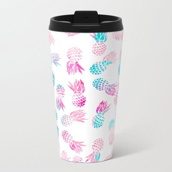Modern summer tropical pineapple watercolor illustration pattern Metal Travel Mug