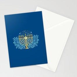 Golden menorah Hanukkah greeting festival of lights decoration  Stationery Cards