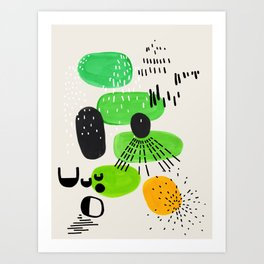Mid Century Modern Abstract Vintage Colorful Shapes Patterns Lime Green Yellow Pebbles Art Print