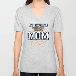 Cheerleader Mom Gift My Favorite Cheerleader Calls Me Mom Design for Mothers of Cheerleaders Unisex V-Neck