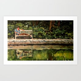 Old Man On A Bench Art Print