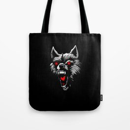 Angry wolf head red eyes Tote Bag