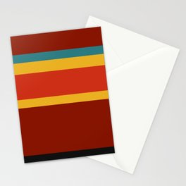 A neat assortment of Dark Green Blue, Ming, Khaki (Html/Css) (Khaki), Desert, Urobilin, Brownish Orange, Vermilion, Kenyan Copper and Chinese Black stripes. Stationery Cards