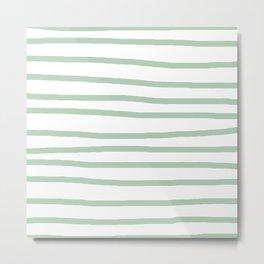 Simply Drawn Stripes Pastel Cactus Green and White Metal Print