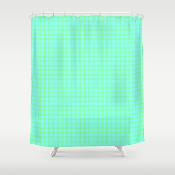 Green On Blue Plaid Shower Curtain By Moonshineparadise