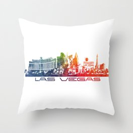 Las Vegas skyline color Throw Pillow