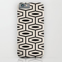 Geometric Ogee Pattern 123 Black and Linen White iPhone Case
